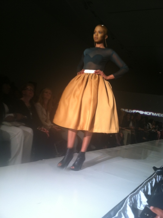 Love the full skirt and a surprising and interesting color combo. Ian Alexander Philly Fashion Week 2014