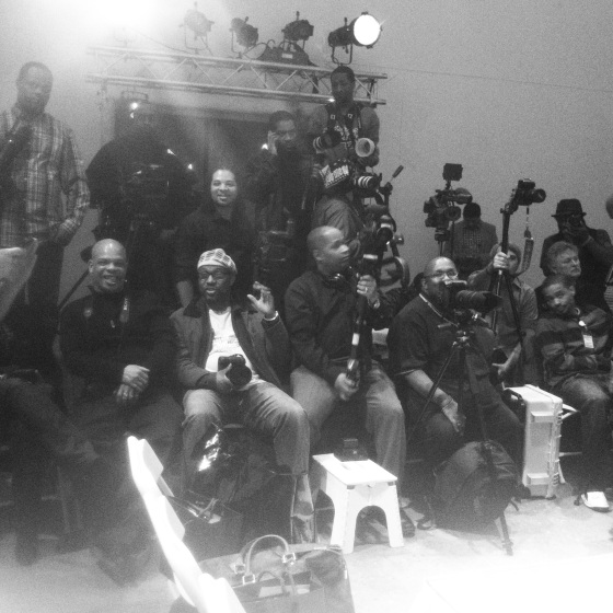 Photographers at the end of the runway. Philly Fashion Week 2014