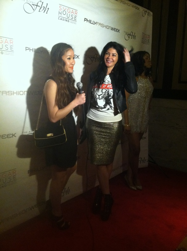 Alicia DiMichele Garofalo from Mob Wives being interviewed by Philly Social at the luxury menswear show at the Ritz Carlton